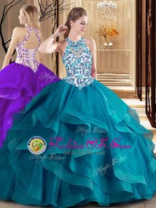 Teal Vestidos de Quinceanera Military Ball and Sweet 16 and Quinceanera and For with Embroidery and Ruffles Scoop Sleeveless Brush Train Lace Up