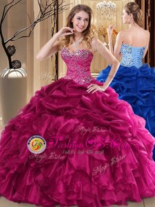 Most Popular Organza Sweetheart Sleeveless Lace Up Beading and Pick Ups Sweet 16 Dress in Fuchsia