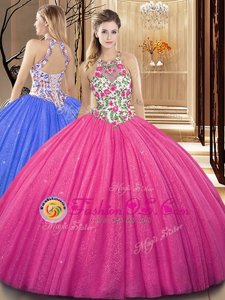Scoop Hot Pink Tulle Backless Vestidos de Quinceanera Sleeveless Floor Length Embroidery and Sequins
