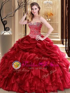 Fine Sleeveless Floor Length Beading and Pick Ups Lace Up Vestidos de Quinceanera with Red