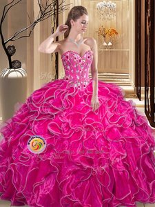 Superior Fuchsia Ball Gowns Sweetheart Sleeveless Organza Floor Length Lace Up Embroidery and Ruffles 15 Quinceanera Dress