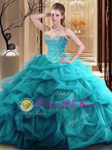 Custom Made Beading and Ruffles 15th Birthday Dress Teal Zipper Sleeveless Floor Length