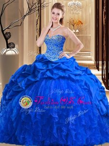 Dramatic Royal Blue Ball Gowns Sweetheart Sleeveless Taffeta and Tulle Brush Train Lace Up Beading and Ruffles Quinceanera Gown