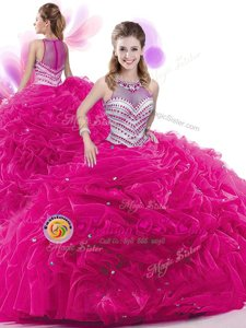 Eye-catching Fuchsia High-neck Neckline Ruffles and Pick Ups Ball Gown Prom Dress Sleeveless Zipper