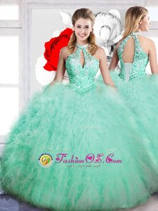 Apple Green Sleeveless Beading Floor Length Ball Gown Prom Dress