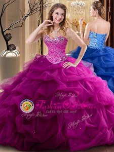 Clearance Floor Length Lace Up Sweet 16 Dresses Fuchsia and In for Military Ball and Sweet 16 and Quinceanera with Beading and Ruffles