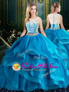 Flare Scoop Sleeveless Tulle With Brush Train Zipper Ball Gown Prom Dress in Baby Blue for with Lace and Ruffles
