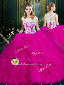 Scoop Fuchsia Tulle Zipper Quinceanera Gowns Sleeveless Floor Length Lace and Ruffles