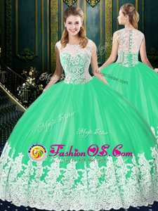 On Sale Ball Gowns Quinceanera Gowns Apple Green Scoop Tulle Sleeveless Floor Length Zipper