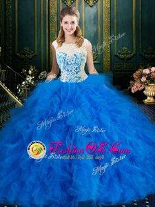 Scoop Blue Zipper Quinceanera Dresses Lace and Ruffles Sleeveless Floor Length