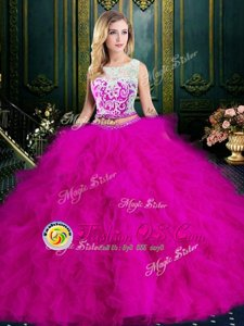 Enchanting Fuchsia Ball Gowns Scoop Sleeveless Tulle Floor Length Zipper Lace and Ruffles Quince Ball Gowns
