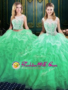 Best Selling Scoop Sleeveless Organza Quinceanera Dress Lace and Ruffles Court Train Lace Up