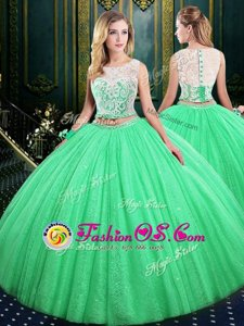 Luxury Sequins Ball Gowns Quinceanera Gowns Scoop Tulle and Sequined Sleeveless Floor Length Lace Up