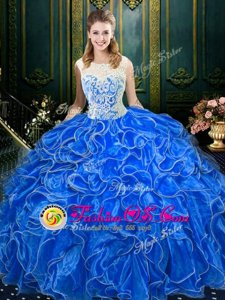 Scoop Sleeveless Quince Ball Gowns Floor Length Lace and Ruffles Royal Blue Organza