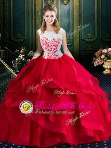 Glamorous Square With Train Red Quinceanera Dresses Tulle Brush Train Sleeveless Lace and Ruffles