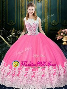 Charming Scoop Sleeveless Zipper Quinceanera Dresses Rose Pink Tulle
