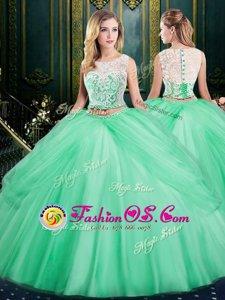 Best Scoop Pick Ups Floor Length Two Pieces Sleeveless Apple Green Quinceanera Dresses Zipper