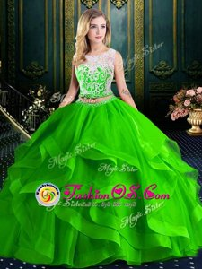 Charming Scoop Sleeveless Brush Train Lace and Ruffles With Train Quinceanera Dress