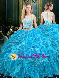 Scoop Baby Blue Sleeveless Lace and Ruffles Floor Length Quinceanera Gowns