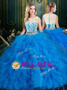 Custom Made Scoop Sleeveless Zipper Quinceanera Dress Blue Tulle