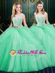 Scoop Floor Length Zipper Quinceanera Dresses Apple Green and In for Military Ball and Sweet 16 and Quinceanera with Lace and Pick Ups