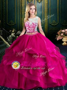 Classical Scoop Lace and Ruffles 15 Quinceanera Dress Fuchsia Lace Up Sleeveless With Brush Train