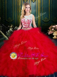Smart Red Zipper Scoop Lace and Ruffles Ball Gown Prom Dress Tulle Sleeveless