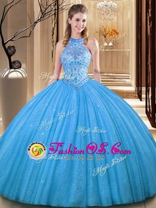 Baby Blue High-neck Neckline Embroidery Ball Gown Prom Dress Sleeveless Backless