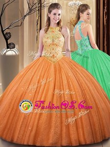 Embroidery and Hand Made Flower Quinceanera Gown Orange Backless Sleeveless Floor Length