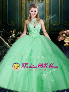 Halter Top Apple Green Sleeveless Beading and Lace and Ruffles and Ruching Floor Length Vestidos de Quinceanera