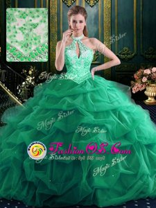 Noble Halter Top Sleeveless Organza and Tulle Floor Length Lace Up Sweet 16 Dress in Dark Green for with Beading and Ruffles and Pick Ups