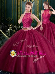 Attractive Burgundy Sleeveless Tulle Lace Up Quince Ball Gowns for Military Ball and Sweet 16 and Quinceanera