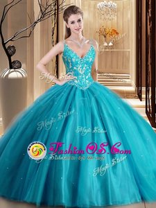 Spaghetti Straps Sleeveless Quinceanera Gown Floor Length Beading and Lace and Appliques Teal Tulle