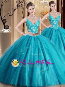 Luxurious Sleeveless Tulle Floor Length Lace Up Quinceanera Gown in Teal for with Beading and Lace and Appliques