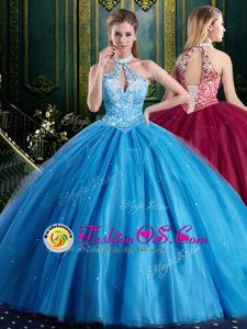 Halter Top Baby Blue Sleeveless Floor Length Beading and Lace and Appliques Lace Up Sweet 16 Quinceanera Dress