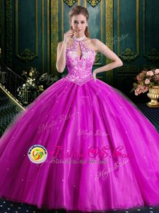 Halter Top Sleeveless Lace Up Floor Length Beading and Lace and Appliques Sweet 16 Dress
