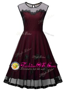 Sexy Burgundy Scoop Side Zipper Embroidery Dress for Prom Sleeveless