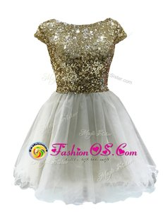 Luxury White A-line Bateau Cap Sleeves Chiffon Mini Length Zipper Sequins Celebrity Inspired Dress