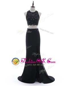 Black Scoop Side Zipper Beading and Lace Formal Evening Gowns Brush Train Sleeveless