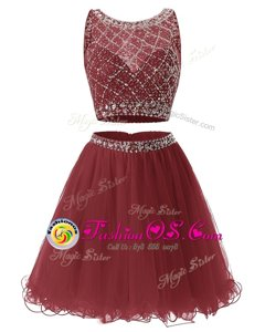 Sleeveless Mini Length Beading and Belt Side Zipper Prom Dresses with Burgundy