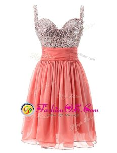 Smart Watermelon Red Prom and Party and For with Beading Straps Sleeveless Zipper