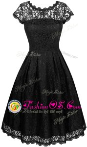 Traditional Scalloped Black Short Sleeves Chiffon Zipper Evening Dress for Prom and Party