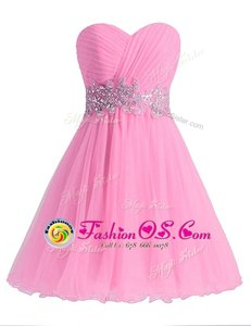 Knee Length A-line Sleeveless Rose Pink Prom Evening Gown Lace Up