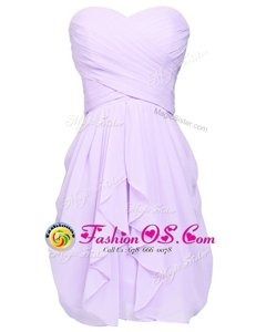 Best Lavender Sleeveless Knee Length Ruching Lace Up Homecoming Dresses