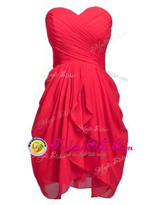 Modest Knee Length Column/Sheath Sleeveless Coral Red Prom Party Dress Lace Up