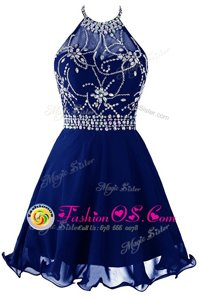 Halter Top Royal Blue Sleeveless Organza Zipper Prom Dresses for Prom and Party