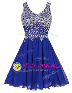 Knee Length Royal Blue Prom Gown Chiffon Sleeveless Beading