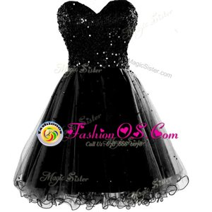 Black A-line Sweetheart Sleeveless Chiffon Knee Length Lace Up Beading and Ruching Prom Evening Gown