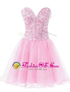 Dramatic Rose Pink Sleeveless Knee Length Beading Lace Up Prom Party Dress