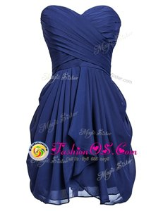 Stunning Knee Length Lace Up Homecoming Dress Navy Blue and In for Prom and Party with Ruching
